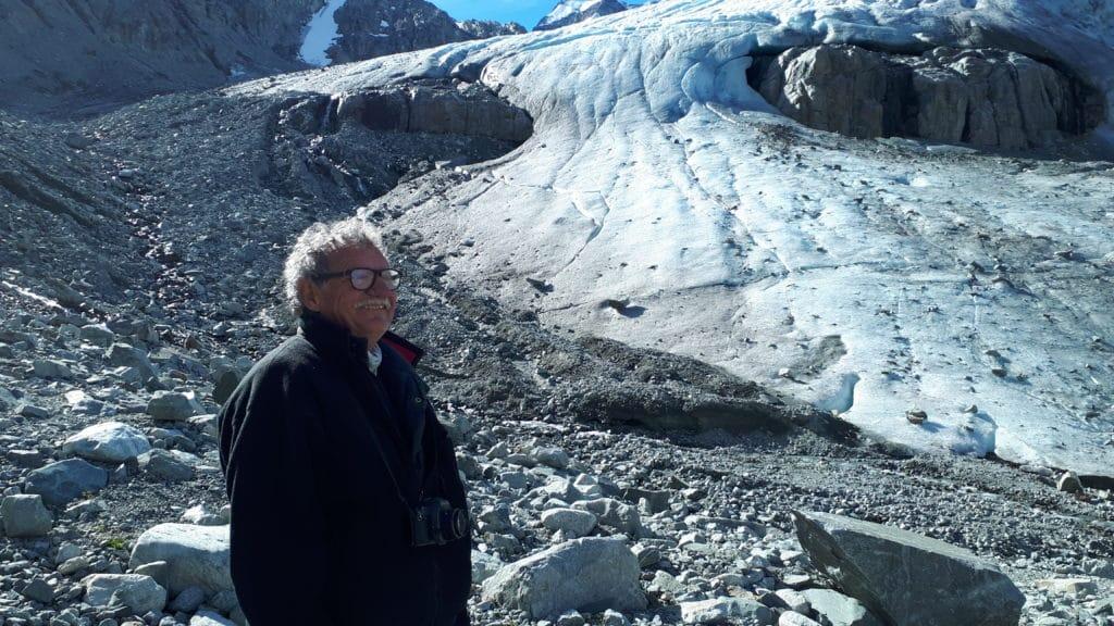 Karl Ricker with glacier